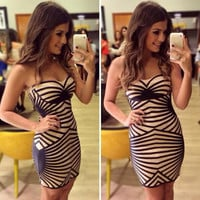 Geometric Stripe Bandeau Dress