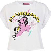 White My Little Pony print cropped t-shirt