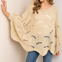 Taupe Scallop-Edged Poncho
