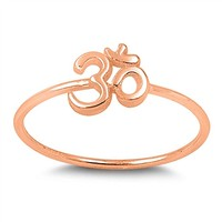 CHOOSE YOUR COLOR Sterling Silver Om Sign Ring