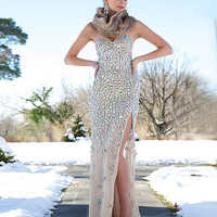 Strapless nude gown 77596 - Prom Dresses