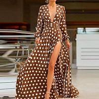 Fashion Polka Dot Red Shirt Dress Female High Waist Maxi Dress Sexy Deep V Slit Party Dress