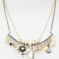 Women's Topshop 'Abalone Tusk Charm' Necklaces - Gold Multi