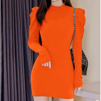 New hot sale women's puff sleeve bottoming dress