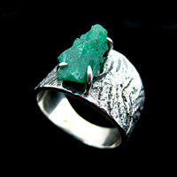 Silver and Emerald Ring, Wide Band Ring, Men's Emerald Jewelry