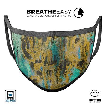 Abstract Wet Paint Gold - Made in USA Mouth Cover Unisex Anti-Dust Cotton Blend Reusable & Washable Face Mask with Adjustable Sizing for Adult or Child