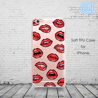 2017 Graffiti Sexy Girl Kylie Lips Phone Case For iPhone 6 6S 5 5s SE 7 7Plus Transparent Silicone Carcasas Fundas Capinha -0329