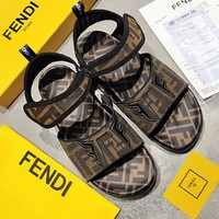 shosouvenir Fendi FF Letter Printing Button Women's Shoes