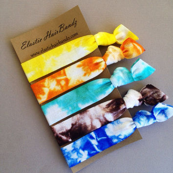 The Sammie Tie Dye Hair Tie Collection - 5 Elastic Hair Ties by Elastic Hair Bandz on Etsy