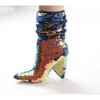 Women Sequins Pointed Toe Fashion Ankle Boots