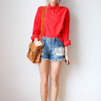 tea and tulips boutique - one of a kind vintage. — cherry red blouse
