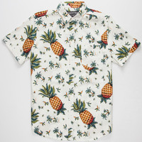 Straight Faded Pineapple Mens Shirt Cream  In Sizes