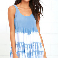 Tide is High Periwinkle Blue Tie-Dye Babydoll Dress