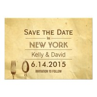 Vintage Dining Tools Old Paper Save the Date
