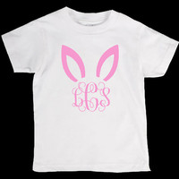 Easter Bunny Personliazed Monogram Name Onesuit or Kid's T-Shirt -