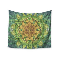 """Art Love Passion """"Celtic Golden Flower"""" Green Yellow Wall Tapestry"""