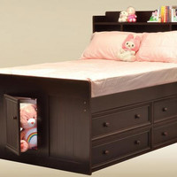 Heritage Walnut Full Size Bookcase Captain's Bed