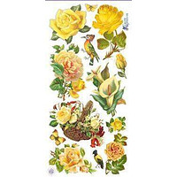 Yellow Rose Victorian Floral 2 Sheets of Stickers