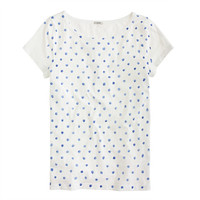 J.Crew Womens Vintage Cotton Cap-Sleeve Tee In Painted Dots