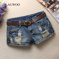 Women's Trendy Hole Denim Shorts Fashion Beggars Shorts