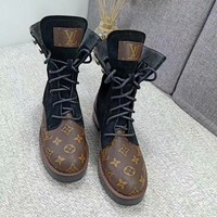 LV Louis Vuitton Trending Women Fashion Print Coffee Leather Heels Shoes Boots Winter