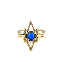 Power of Three Ring in Brass with Lapis