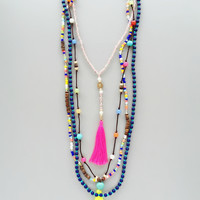 Amour Neon Tassels Necklace