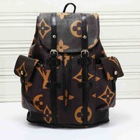 LV hot selling fashionable men and women large print casual shopping backpacks Coffee