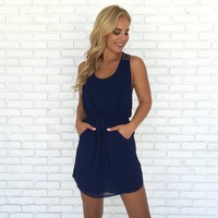 If By Sea Woven Dress in Navy Blue