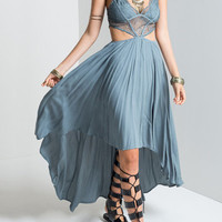 Plunge Lace Insert Cut Out High Low Hem Maxi Dress in Grey-blue from mobile - US$23.95 -YOINS
