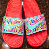 """Nike slides hand painted in """"Lilly Pulitzer"""" like sea coral design."""