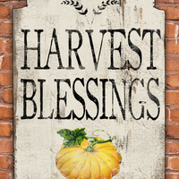 Harvest Blessings wooden sign.  Approx. 13x19x3/4 inches.