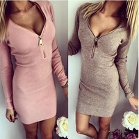 Fall Dresses Women Knitted Bodycon Long Sleeve Casual Dresses Autumn Winter Metal Zipper Mini Party Dress