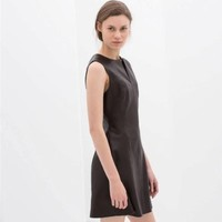 ZARA BROWN CHOCOLATE FAUX LEATHER A LINE SKATER DRESS SIZE L LARGE REF 2753/044