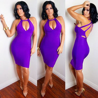 Cut-Out Sexy Purple Party Dress