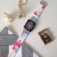 Handmade Hand-made Apple Watch iWatch Band Leather With Adapter 38 / 42 mm - Abstract Art Brush Pink Grey