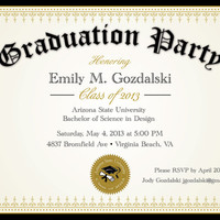 Diploma Graduation Party Invitations - Grad Announcement Digital - College and High School