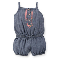 Chambray Embroidered Romper
