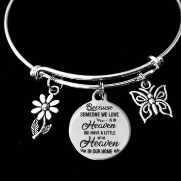 Someone We Love Is In Heaven Memorial Expandable Charm Bracelet Adjustable Wire Bangle Silver Memorial One Size Fits All Gift