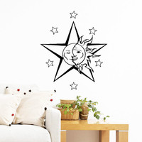 Wall Decal Vinyl Sticker Decals Art Home Decor Design Mural Sun Moon Crescent Dual Ethnic Stars Night Symbol Sunshine Fashion Bedroom AN423