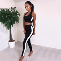 Women Tracksuit Yoga Set Strip Patchwork Running Fitness Jogging T-shirt Leggings Sport Suit Gym Sportswear Workout Clothing