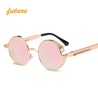 Gothic Steampunk Sunglasses Coating Mirrored Round Circle oculos Vintage