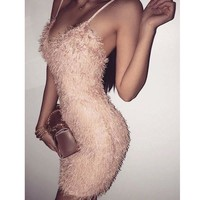 Sexy Women Bodycon Night Club Plush Dress Elegant Strappy Party Club Short Mini Dresses For Women Vestido