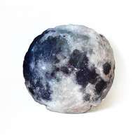 MOON PILLOW, full moon round cushion, washable, modern design cushion, themed kids room or nursery, perfect for children, heavy linen