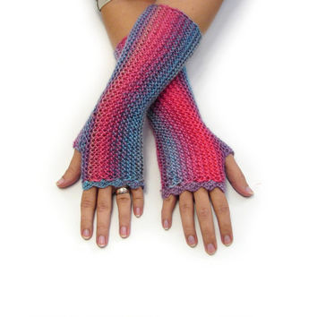 Striped fingerless gloves in soft acrylic, Pink and blue shades texting gloves, seamless handknit soft armwarmers, choose your color