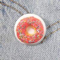 Pink Frosted Donut 1.25 Inch Pin Back Button Badge