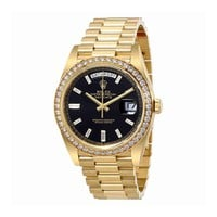 Rolex Oyster Perpetual Day-Date Black Dial Automatic Mens 18 Carat Yellow Gold President Watch 228348BKDP