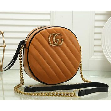 Gucci new retro embossed texture small round bag lady chain shoulder messenger bag