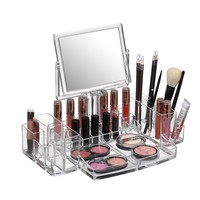 Beautify Clear Acrylic Cosmetic Makeup Organizer with Two-Sided Mirror