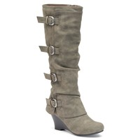Unionbay Ruth Women's Buckled Wedge Boots (Grey)
